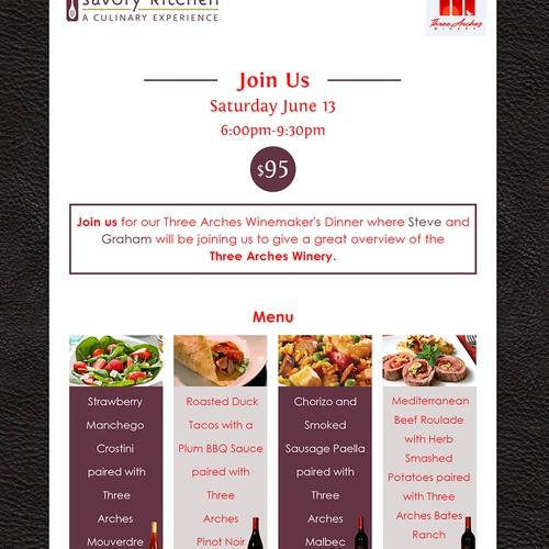 three arches winery dinner invitation