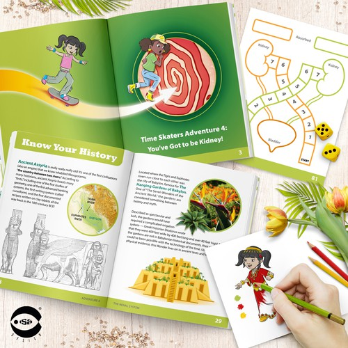 Interior book design and illustrations for Adventure 4 - The Renal System by Know Yourself PBC