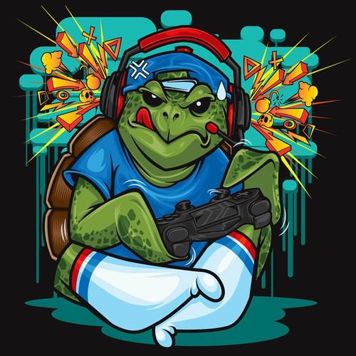 Character Art - Sea Turtle Gamer wearing Headphones