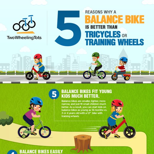 Info-graphic design for 5 Reasons Why a Balance Bike is better than Tricycles or Training Wheels