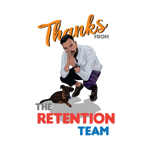 Illustration of team member from the Retention team at 99designs for T-shirts