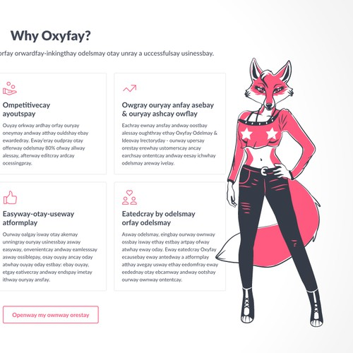 Sexy fox character/icon for Foxy e-commerce