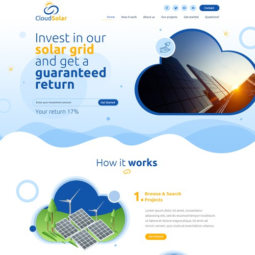Cloud design concept for cloudsolar