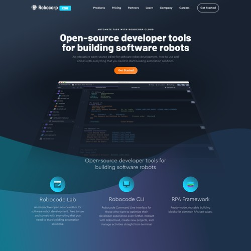 Landing page for coding software