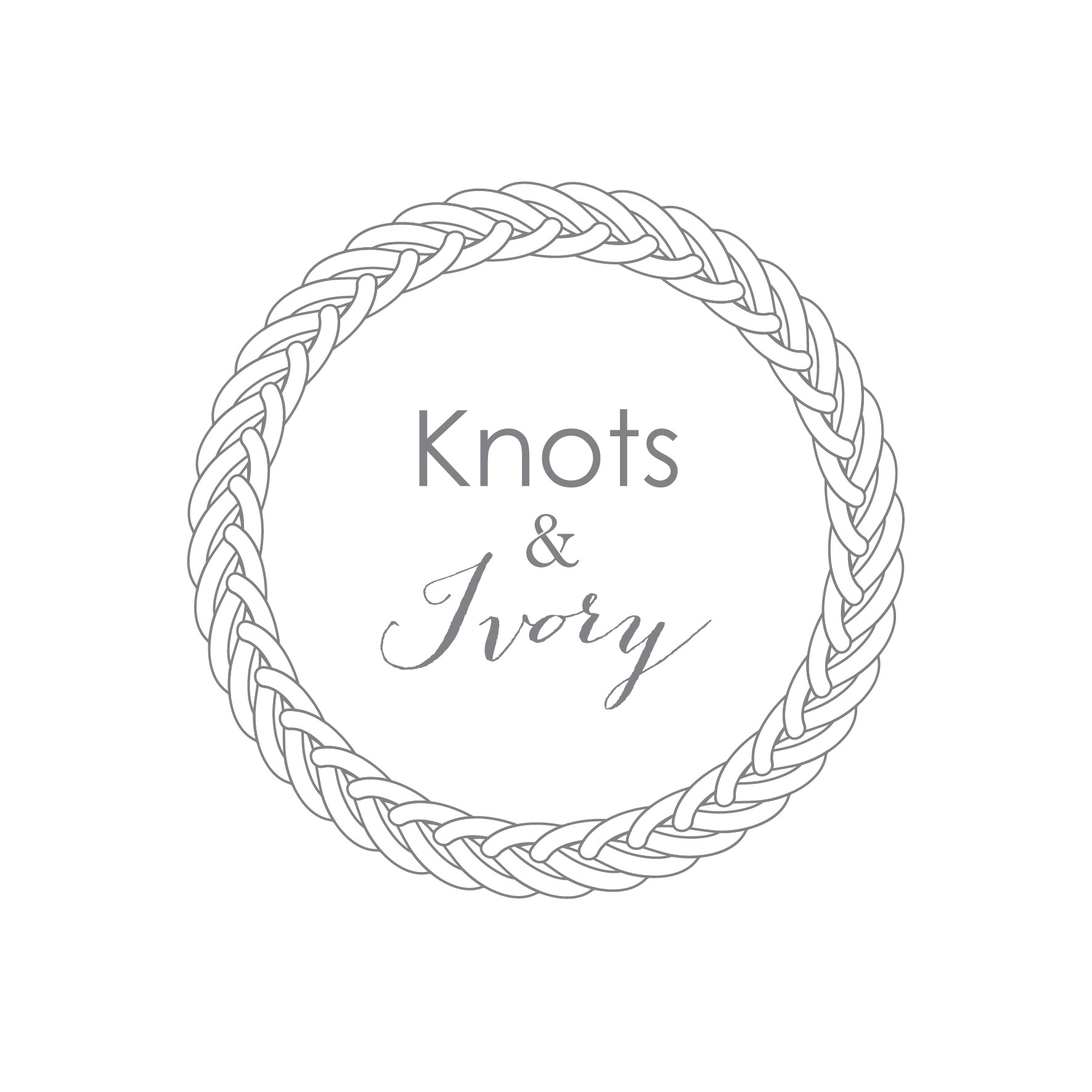 Design a bohemian, artistic new logo for Knots & Ivory, a macrame and rentals company