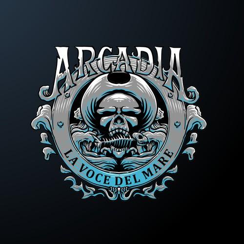 skull theme logo concept