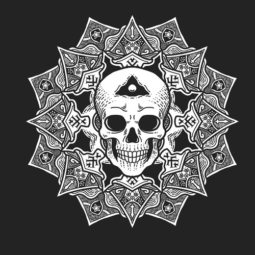 Mandala art and skull