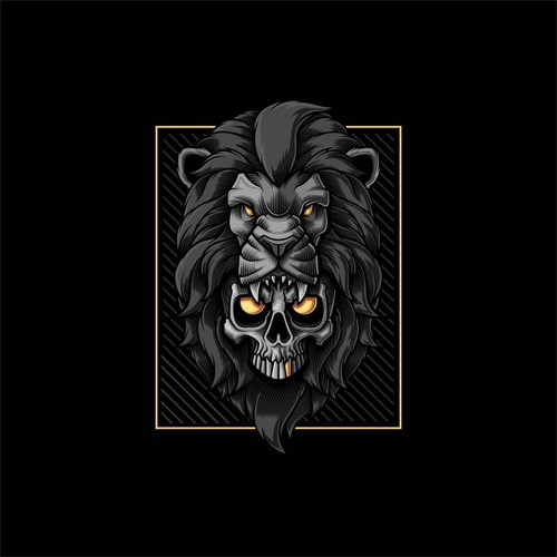 skull and lion