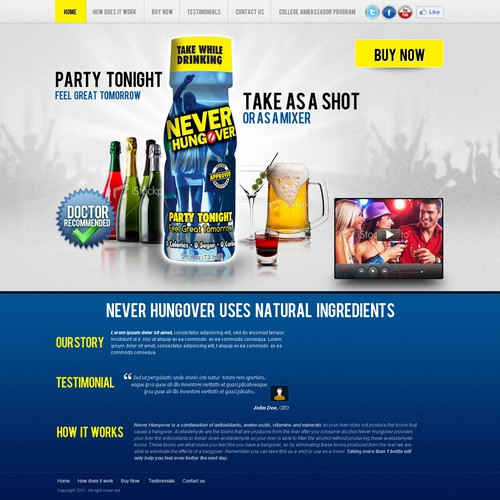 AMAZING NEW PRODUCT - NEVER HUNGOVER - 2.5 OZ SHOT