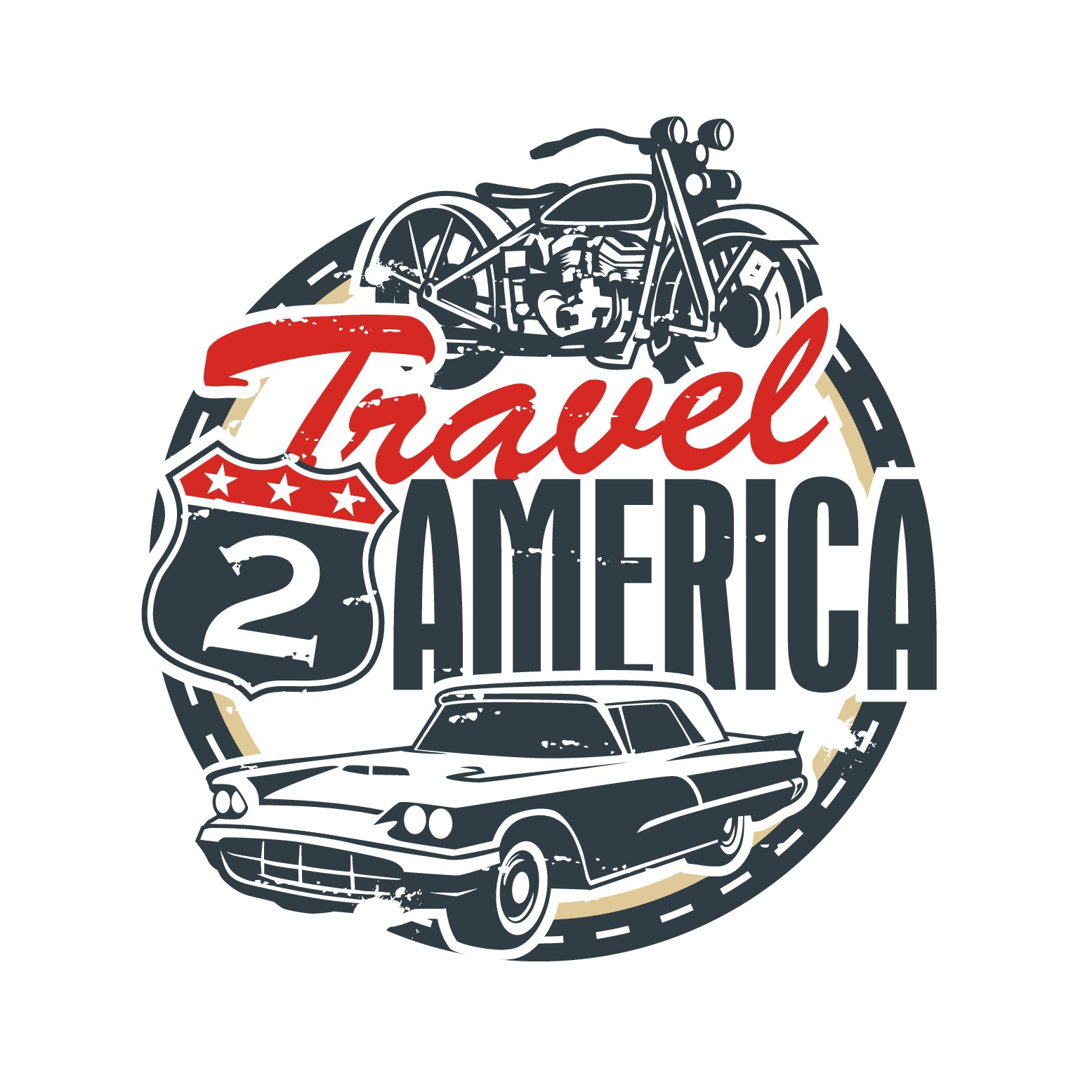 please create a vintage logo for traveling in America by motorbike or car. To see the logo is to go!