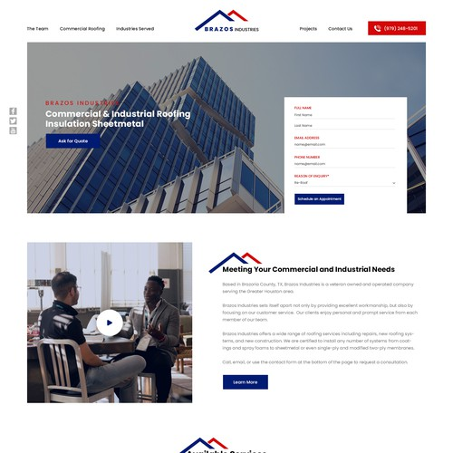 Home Page design for Brazos Industries