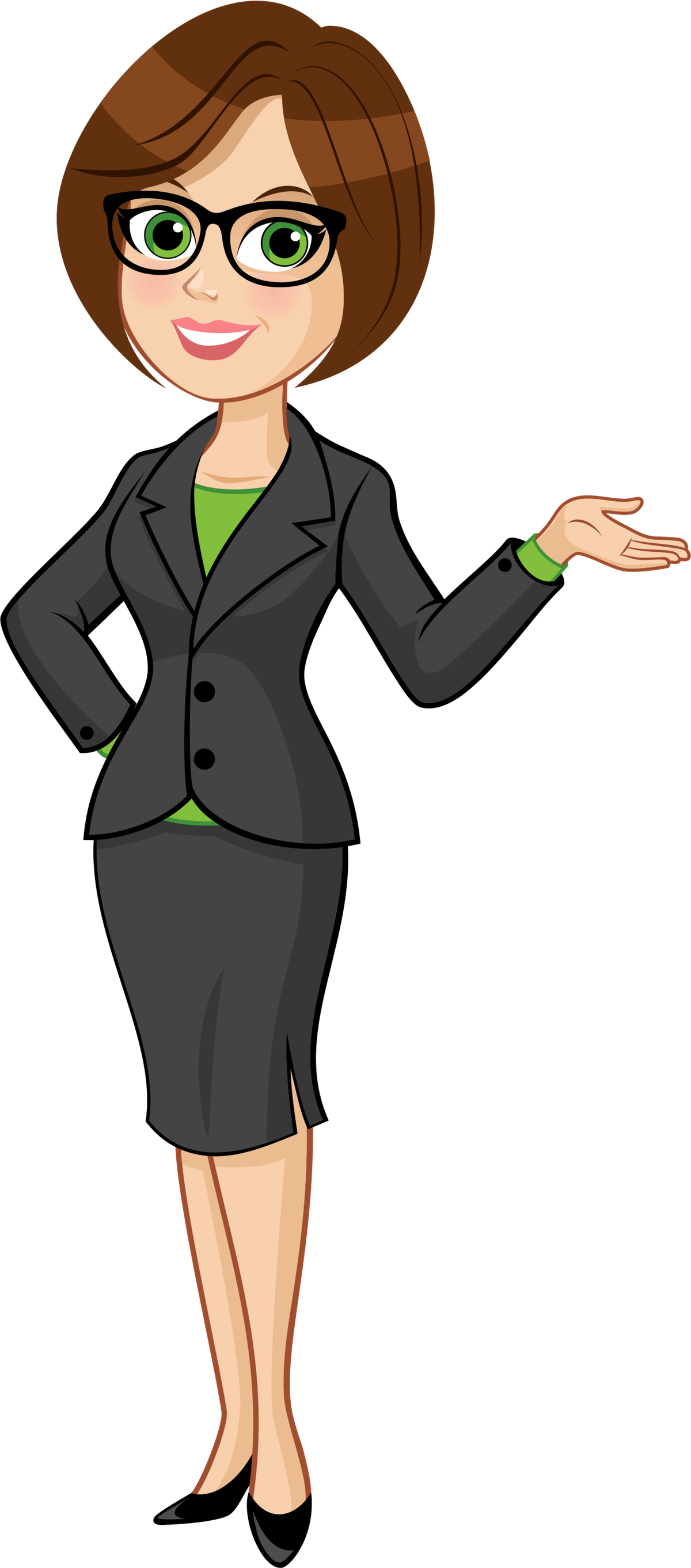Create a business attired female cartoon character
