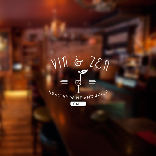 "Logo Vintage For ""Vin & Zen Cafe"""