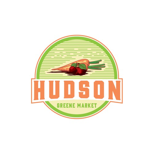 Logo for a gourmet food market that sells green.