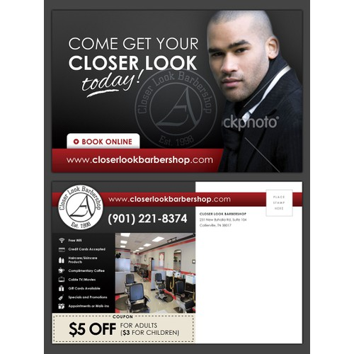 A Closer Look Barber Shop Postcard