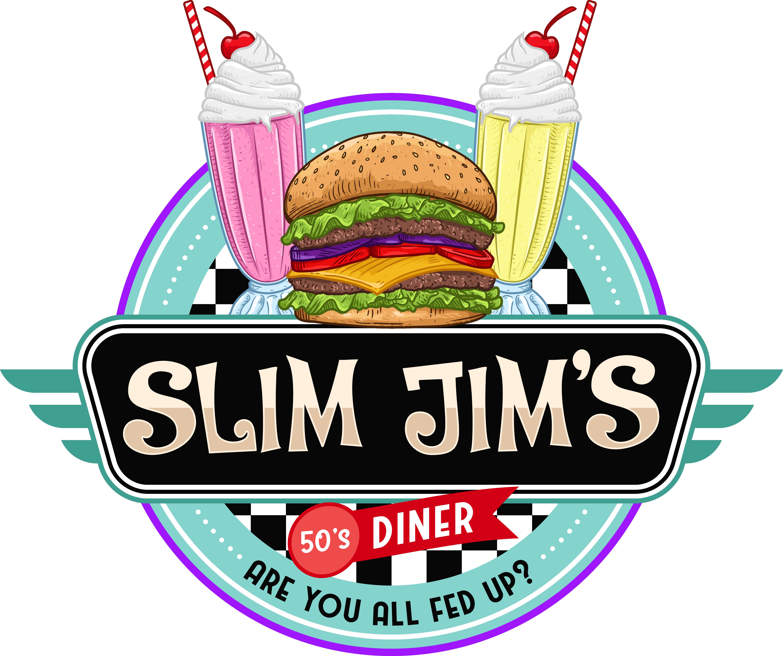 Design a vintage cool logo for Slim Jim's 50's Diner