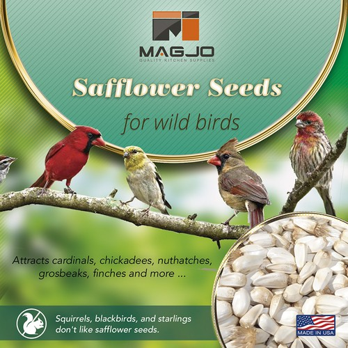 Safflower Seed Wild Bird Food label