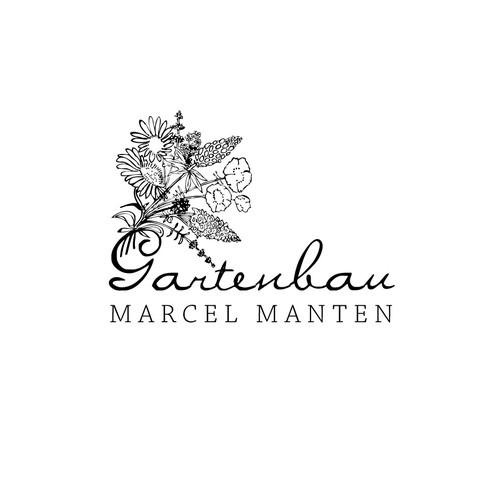 Hand drawn flower bouquet illustration logo design