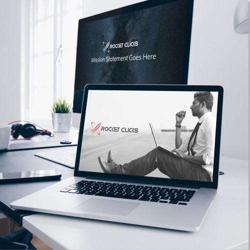 Bold Modern PowerPoint Template for Rocket Clicks
