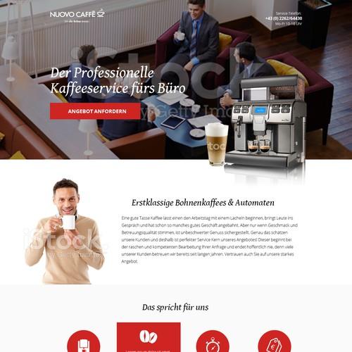 Landinpage for Coffee Machine Retailer
