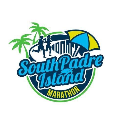 Create an iconic logo for the inaugural South Padre Island Marathon