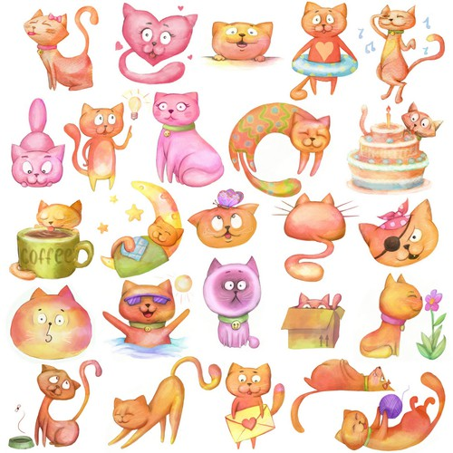 Lovely watercolor cats