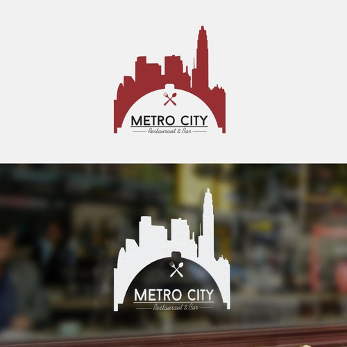 catchy logo for restaurant with the name metro city.