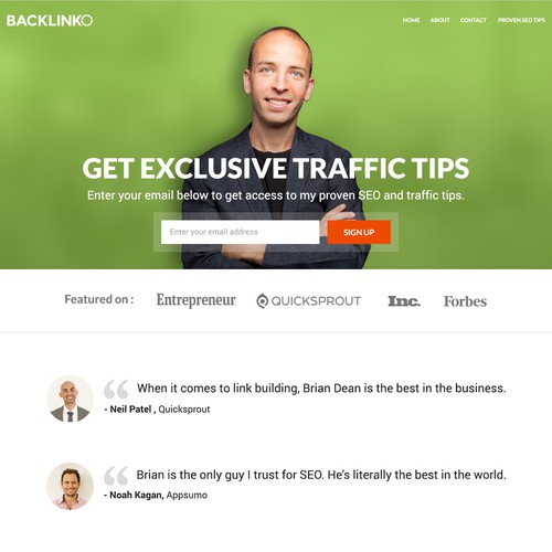 Create a high-quality homepage and about page for Backlinko