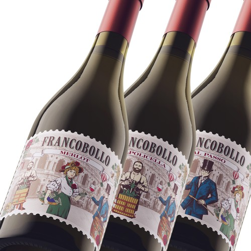 FRANCOBOLLO wine label design