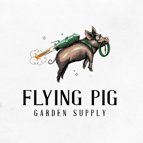 Flying pig logo design for Garden supply