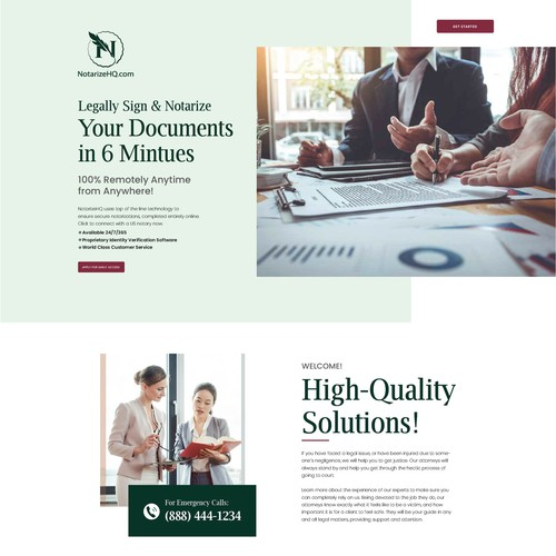 Design a intuitive landing page for a legal services business