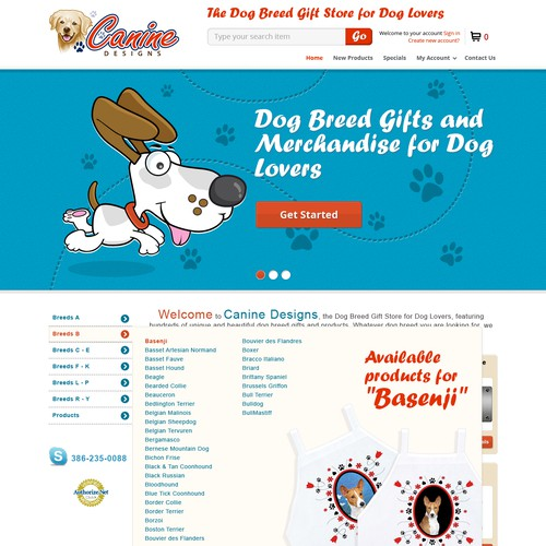 Homepage Design for Ecommerce Business - Dog Gift Shop