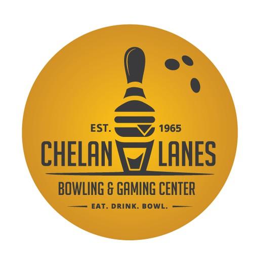 A retro logo for a fun bowling/gaming center!