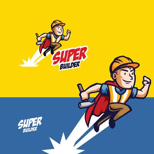 Cartoon 1940's Mascot Super Construction Logo