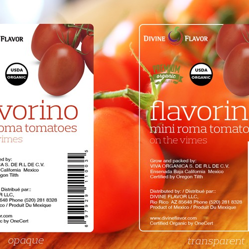 LABEL:FLAVORINO (ORG MINI ROMAS ON THE VINE TOMATOES) ACTUAL PRINTCARD ATTACHED