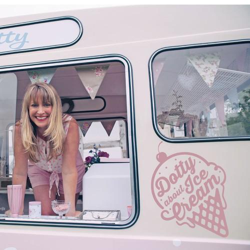 logo concept for a beautiful vintage ice cream van
