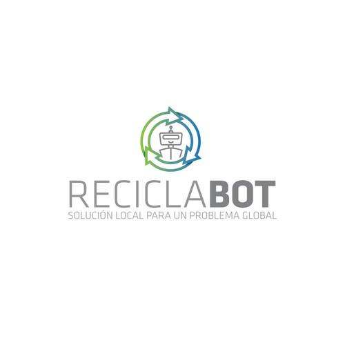 logo concepto para una maquina recicladora