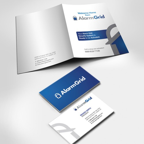 Alarm Grid's Welcome Kit (Folder and Business Card)