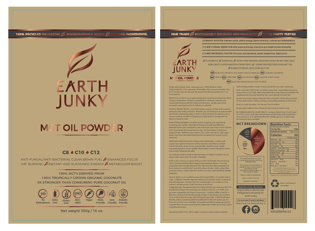 Create a HIGH-END, ECO-MODERN MCT Oil Powder packaging design that POPS on Amazon for EARTH JUNKY