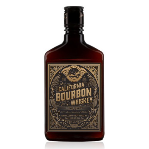Design a retro Bourbon label