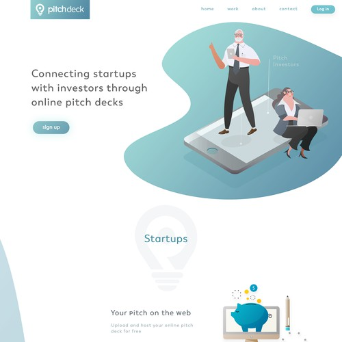 landing page web ui and illustration for tech startup