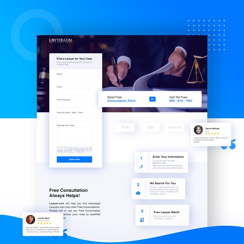 Landing Page for Lawyer.com
