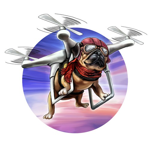 Pug Flying Drone T-Shirt