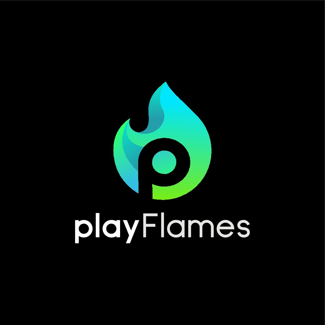 Design a ~certified banger~ logo for independent EDM/basshead music channel playFlames