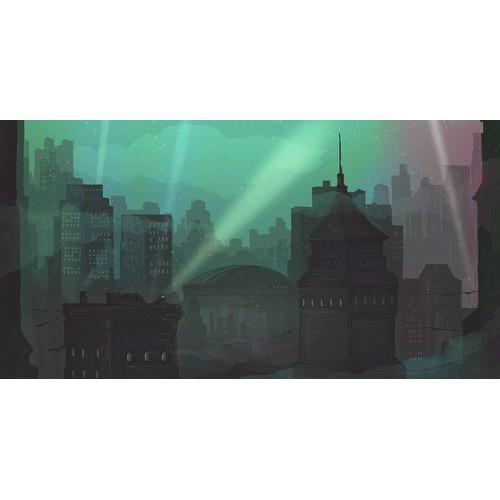 Create an Illustration of Gotham City at Night