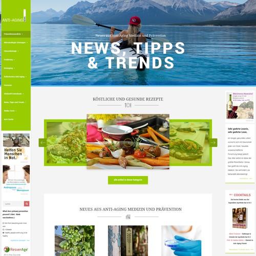 Concept design for AntiAgingNews.net