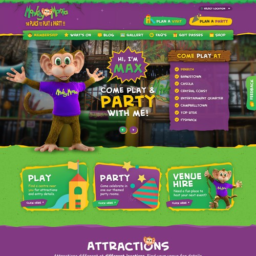 Re-design Monkey Mania's kids entertainment website