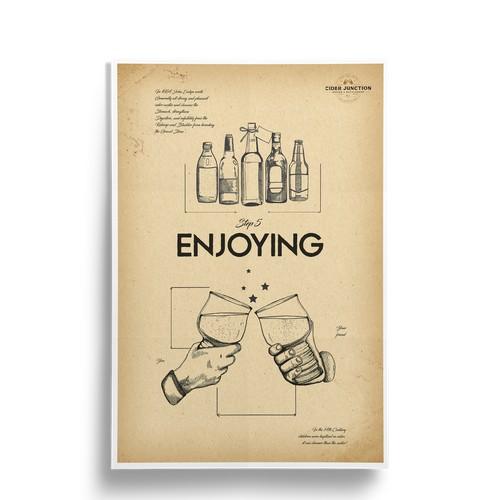 Design of Vintage poster for Cider Junction