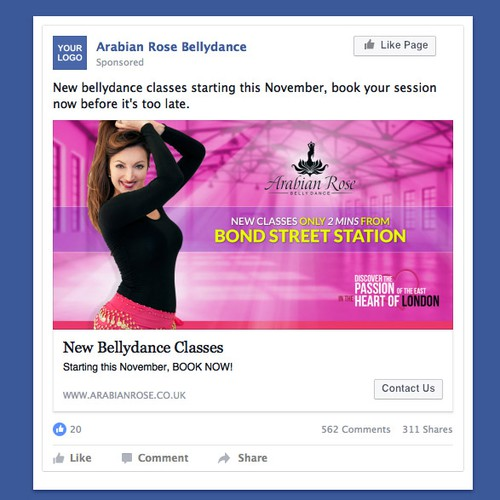 Facebook Newsfeed Ad for a Bellydance School