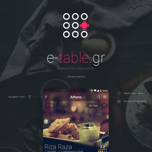 e-table mobile app design concept